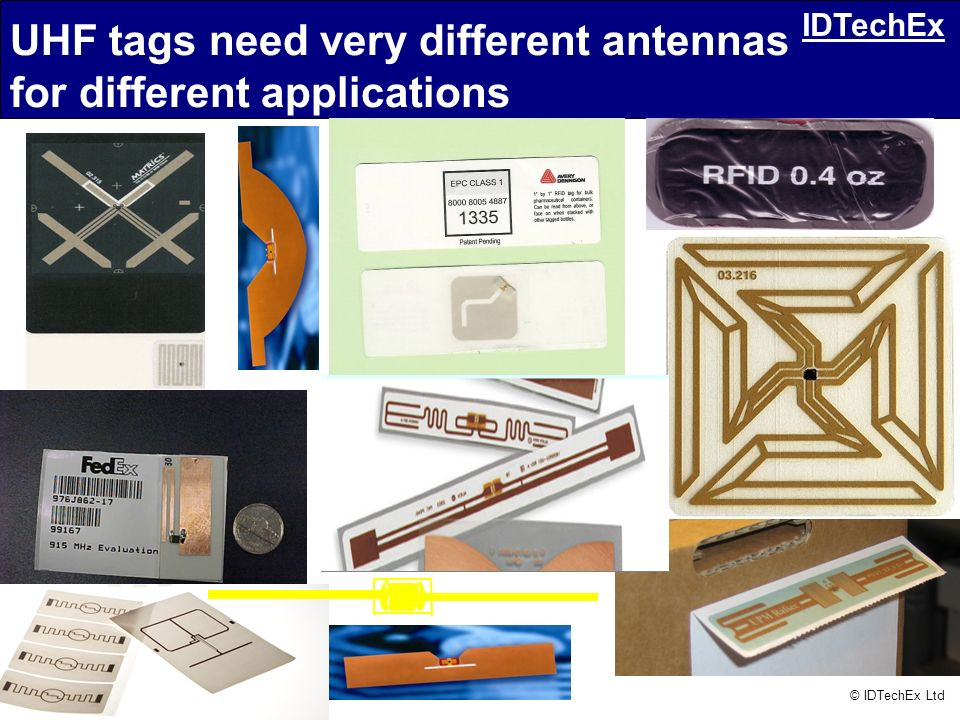 Consulting – Publications – Conferences © IDTechEx Ltd IDTechEx UHF tags need very different antennas for different applications
