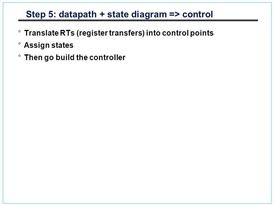 Step 5: datapath + state diagram => control °Translate RTs (register transfers) into control points °Assign states °Then go build the controller