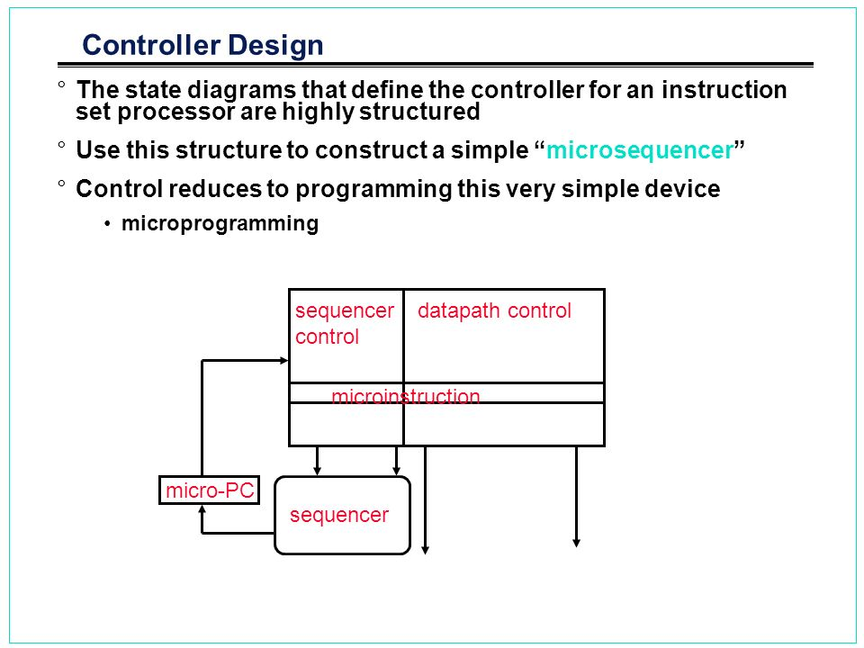 Controller Design °The state diagrams that define the controller for an instruction set processor are highly structured °Use this structure to constru