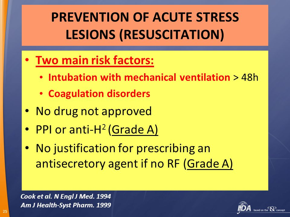 25 PREVENTION OF ACUTE STRESS LESIONS (RESUSCITATION) Two main risk factors: Intubation with mechanical ventilation > 48h Coagulation disorders No dru