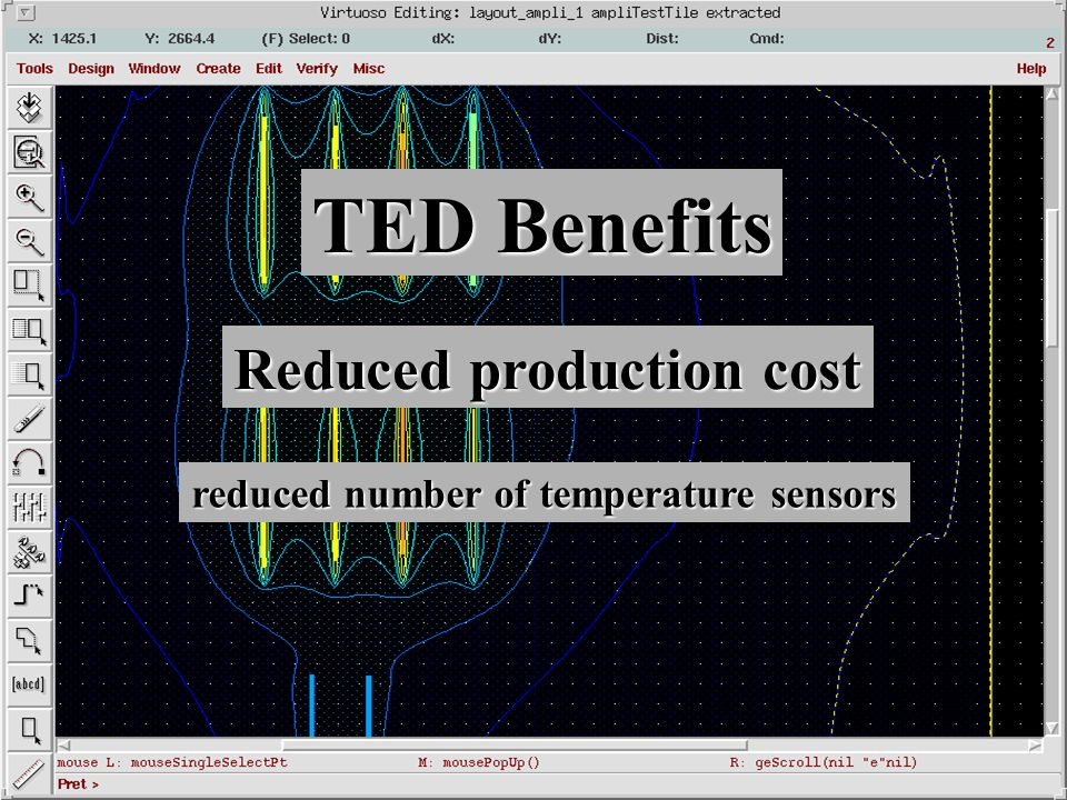 TED Benefits Reduced production cost reduced number of temperature sensors