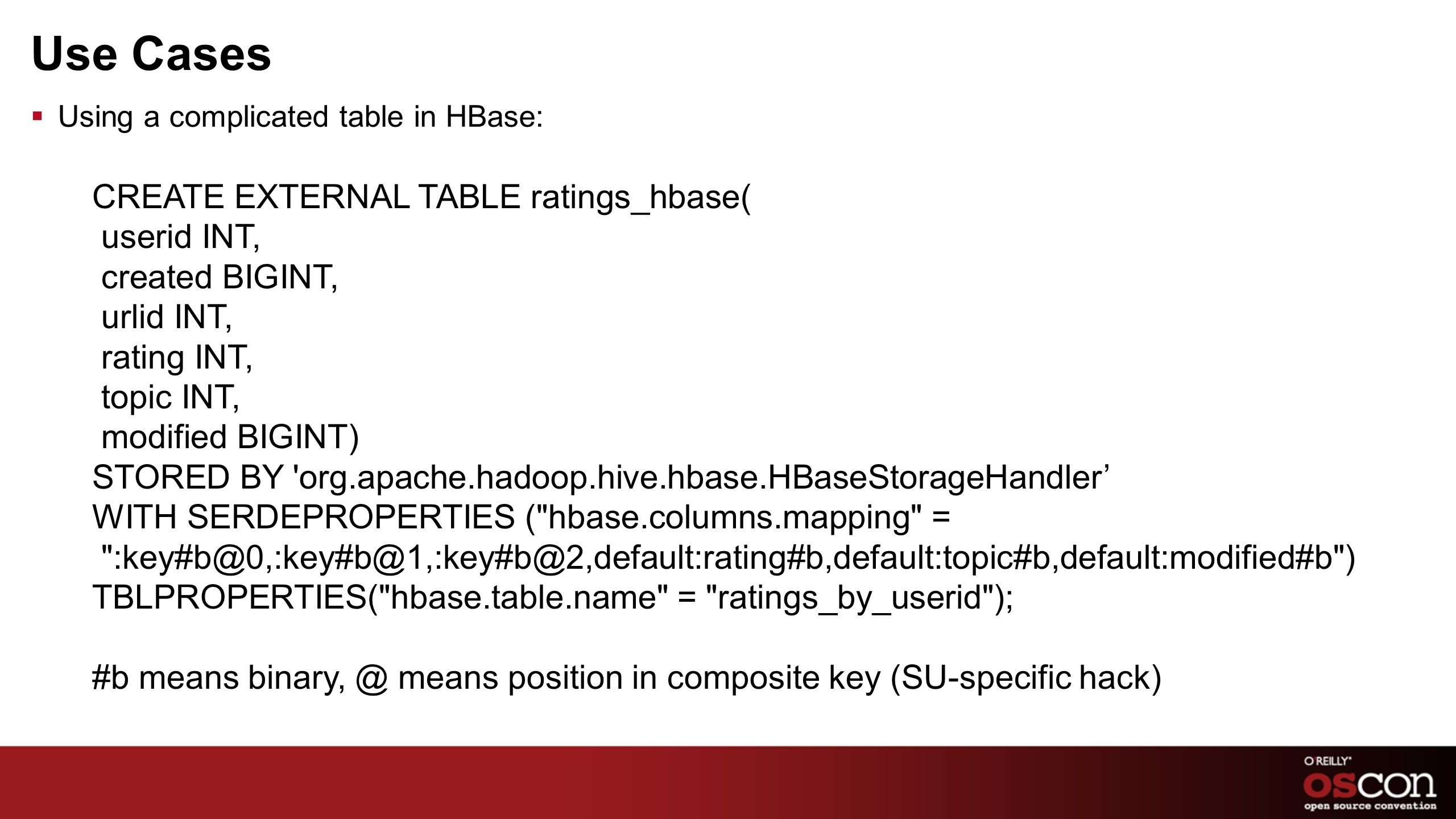 Use Cases Using a complicated table in HBase: CREATE EXTERNAL TABLE ratings_hbase( userid INT, created BIGINT, urlid INT, rating INT, topic INT, modif