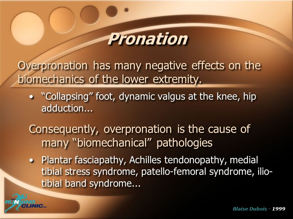Pronation Overpronation has many negative effects on the biomechanics of the lower extremity. Collapsing foot, dynamic valgus at the knee, hip adducti