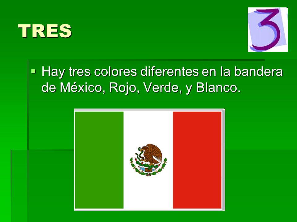 TRES Hay tres colores diferentes en la bandera de México, Rojo, Verde, y Blanco. Hay tres colores diferentes en la bandera de México, Rojo, Verde, y B