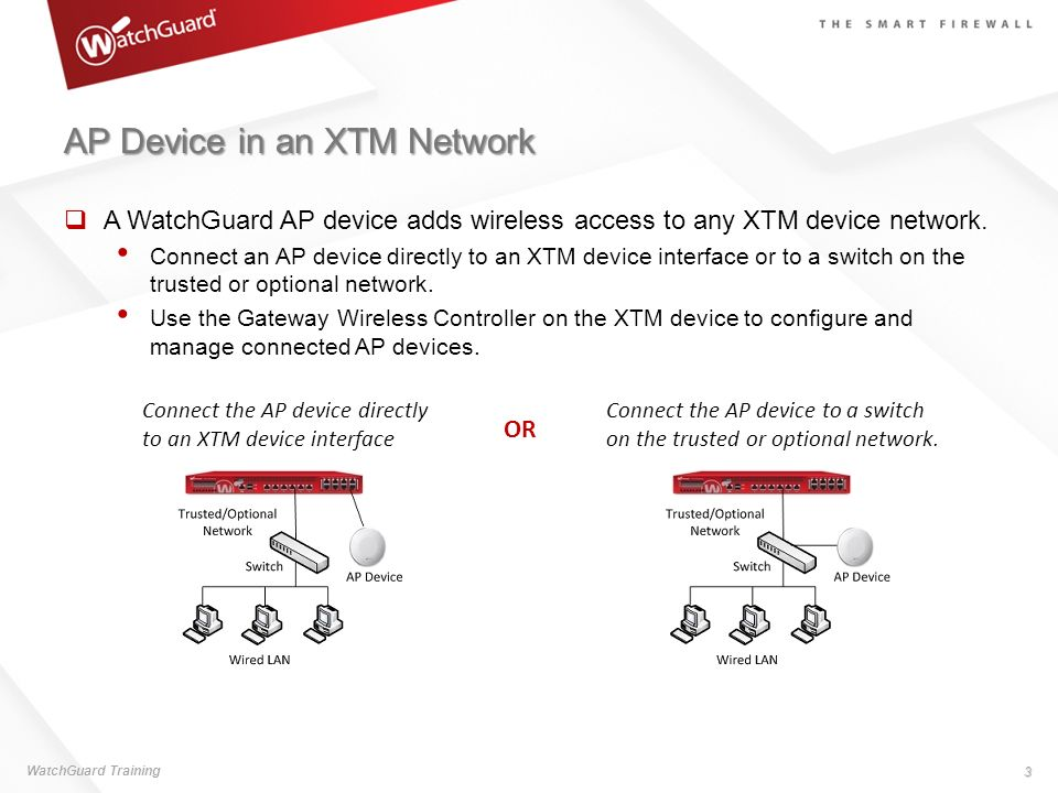 AP Device in an XTM Network A WatchGuard AP device adds wireless access to any XTM device network. Connect an AP device directly to an XTM device inte