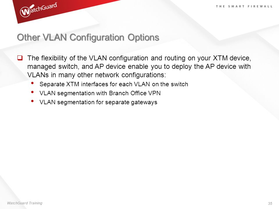 Other VLAN Configuration Options The flexibility of the VLAN configuration and routing on your XTM device, managed switch, and AP device enable you to