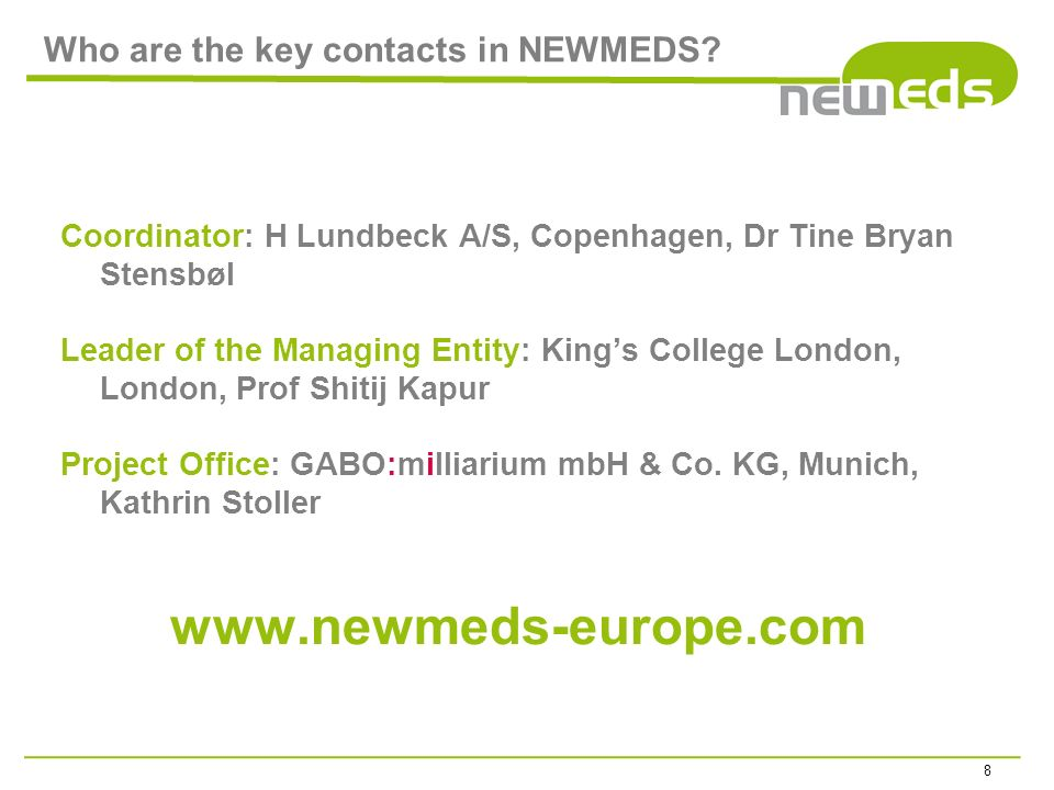 Who are the key contacts in NEWMEDS.