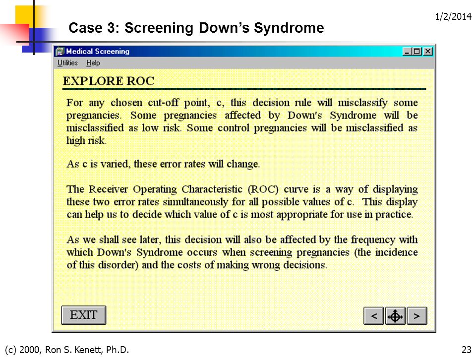 1/2/2014 (c) 2000, Ron S. Kenett, Ph.D.23 Case 3: Screening Downs Syndrome