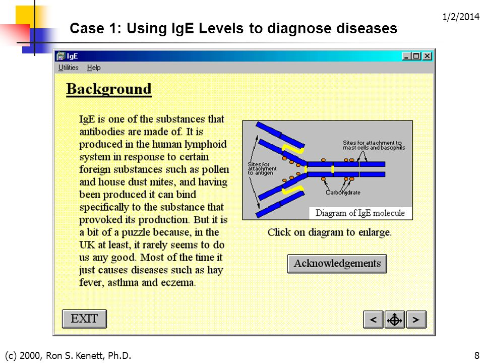 1/2/2014 (c) 2000, Ron S. Kenett, Ph.D.8 Case 1: Using IgE Levels to diagnose diseases