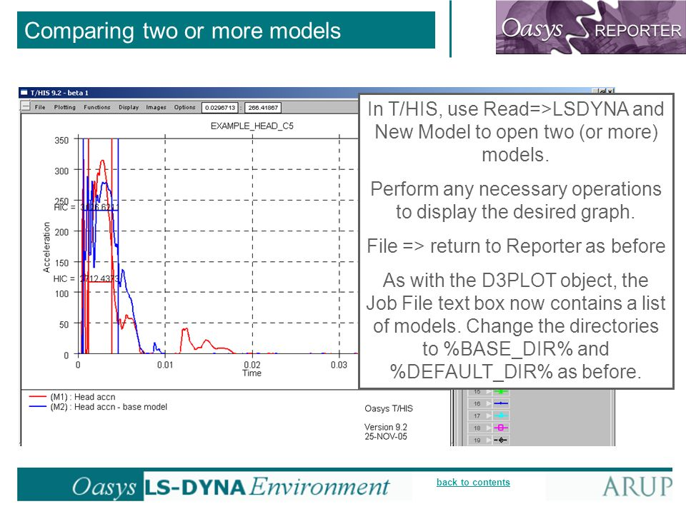back to contents In T/HIS, use Read=>LSDYNA and New Model to open two (or more) models.