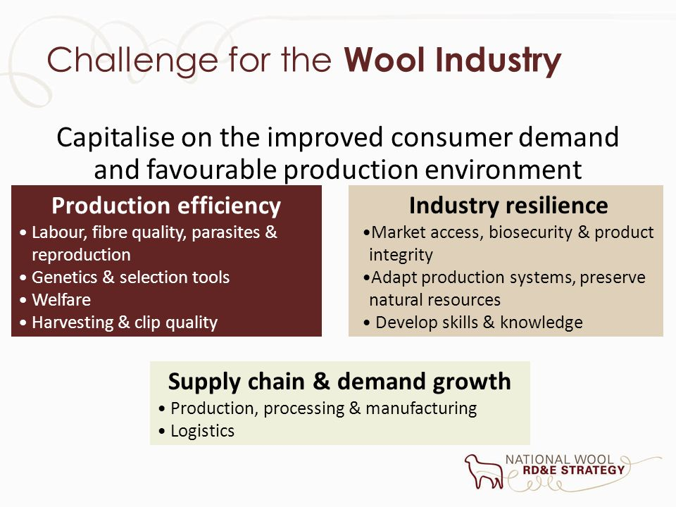 Challenge for the Wool Industry Capitalise on the improved consumer demand and favourable production environment Production efficiency Labour, fibre q