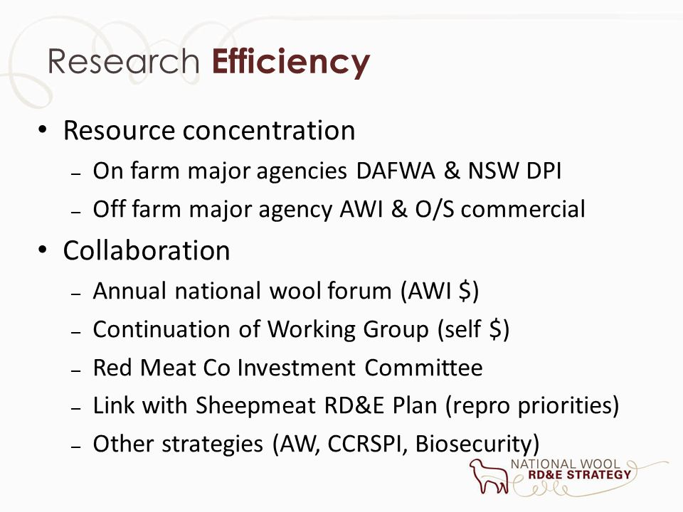 Research Efficiency Resource concentration – On farm major agencies DAFWA & NSW DPI – Off farm major agency AWI & O/S commercial Collaboration – Annua