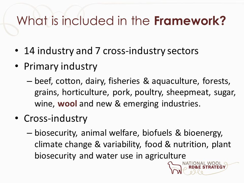 What is included in the Framework? 14 industry and 7 cross-industry sectors Primary industry – beef, cotton, dairy, fisheries & aquaculture, forests,