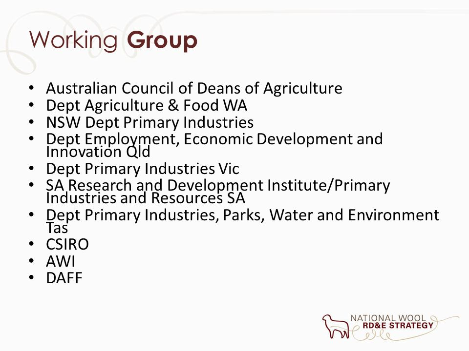 Working Group Australian Council of Deans of Agriculture Dept Agriculture & Food WA NSW Dept Primary Industries Dept Employment, Economic Development