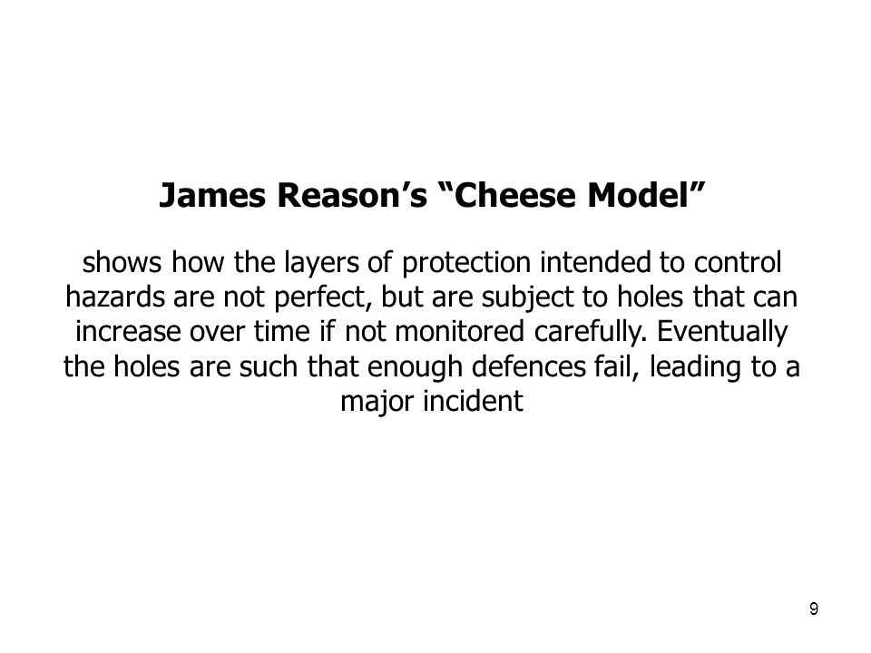 9 James Reasons Cheese Model shows how the layers of protection intended to control hazards are not perfect, but are subject to holes that can increas