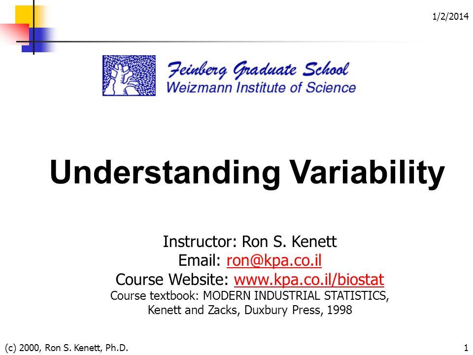1/2/2014 (c) 2000, Ron S. Kenett, Ph.D.1 Understanding Variability Instructor: Ron S. Kenett Email: ron@kpa.co.ilron@kpa.co.il Course Website: www.kpa