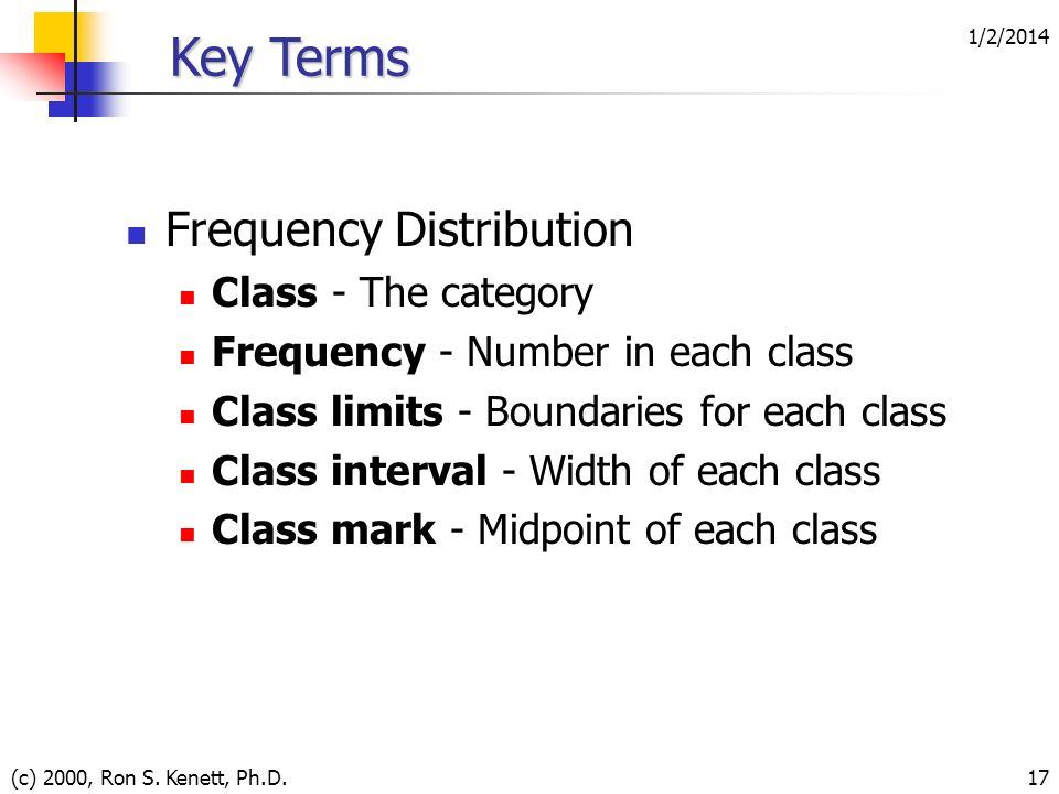 1/2/2014 (c) 2000, Ron S. Kenett, Ph.D.17 Key Terms Frequency Distribution Class - The category Frequency - Number in each class Class limits - Bounda