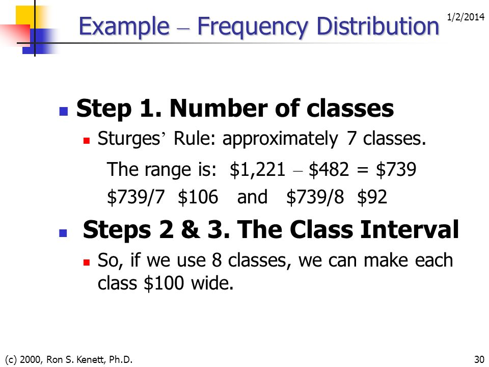 1/2/2014 (c) 2000, Ron S. Kenett, Ph.D.30 Example – Frequency Distribution Step 1. Number of classes Sturges Rule: approximately 7 classes. The range