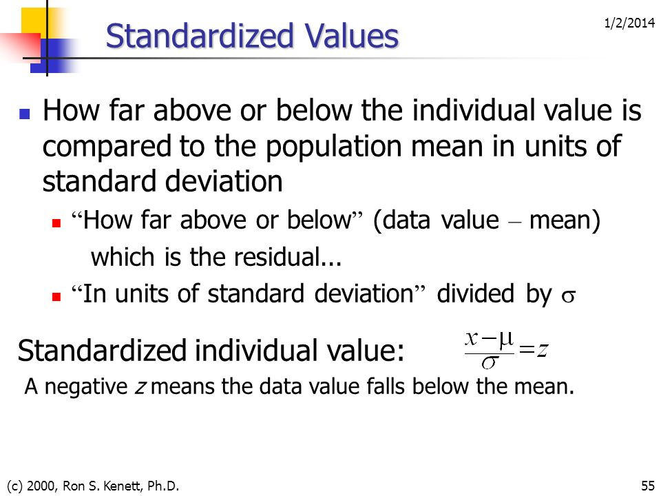 1/2/2014 (c) 2000, Ron S. Kenett, Ph.D.55 Standardized Values How far above or below the individual value is compared to the population mean in units