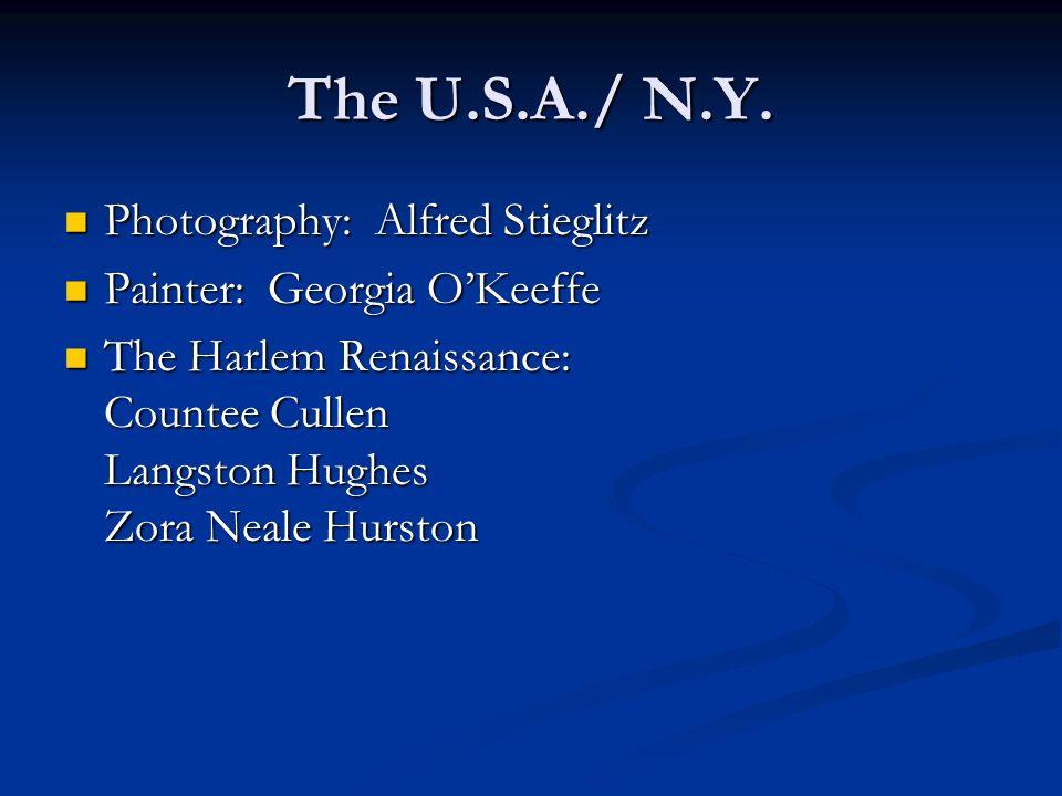 The U.S.A./ N.Y. Photography: Alfred Stieglitz Photography: Alfred Stieglitz Painter: Georgia OKeeffe Painter: Georgia OKeeffe The Harlem Renaissance: