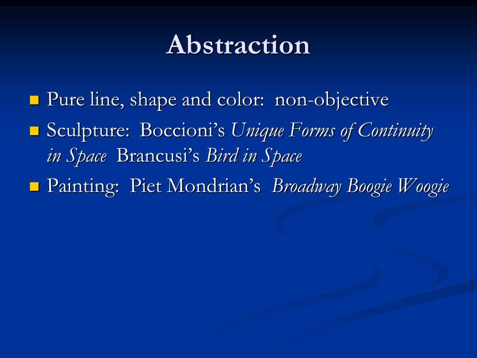 Abstraction Pure line, shape and color: non-objective Pure line, shape and color: non-objective Sculpture: Boccionis Unique Forms of Continuity in Spa