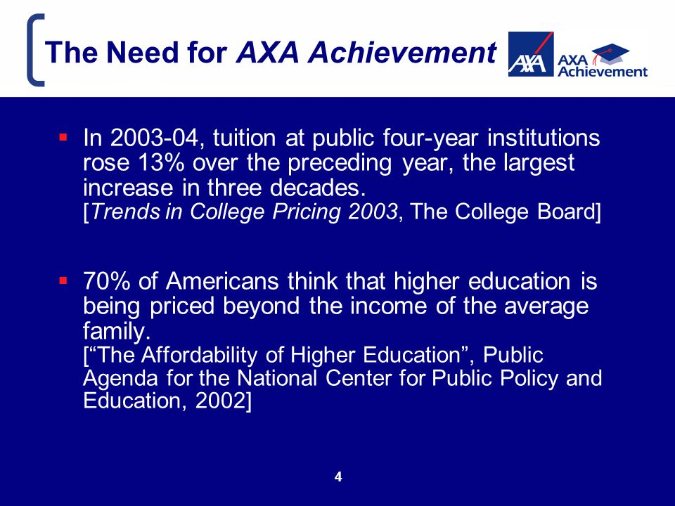 The Need for AXA Achievement In , tuition at public four-year institutions rose 13% over the preceding year, the largest increase in three decades.