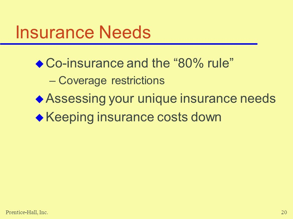 Prentice-Hall, Inc.20 Insurance Needs Co-insurance and the 80% rule –Coverage restrictions Assessing your unique insurance needs Keeping insurance cos