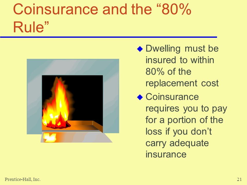 Prentice-Hall, Inc.21 Coinsurance and the 80% Rule Dwelling must be insured to within 80% of the replacement cost Coinsurance requires you to pay for