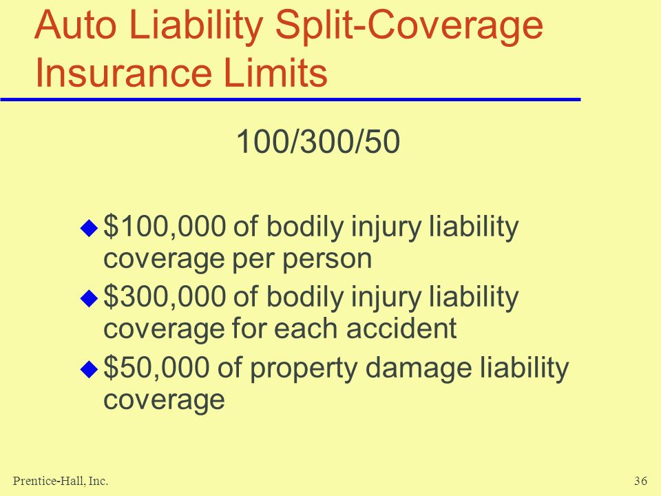 Prentice-Hall, Inc.36 Auto Liability Split-Coverage Insurance Limits 100/300/50 $100,000 of bodily injury liability coverage per person $300,000 of bo