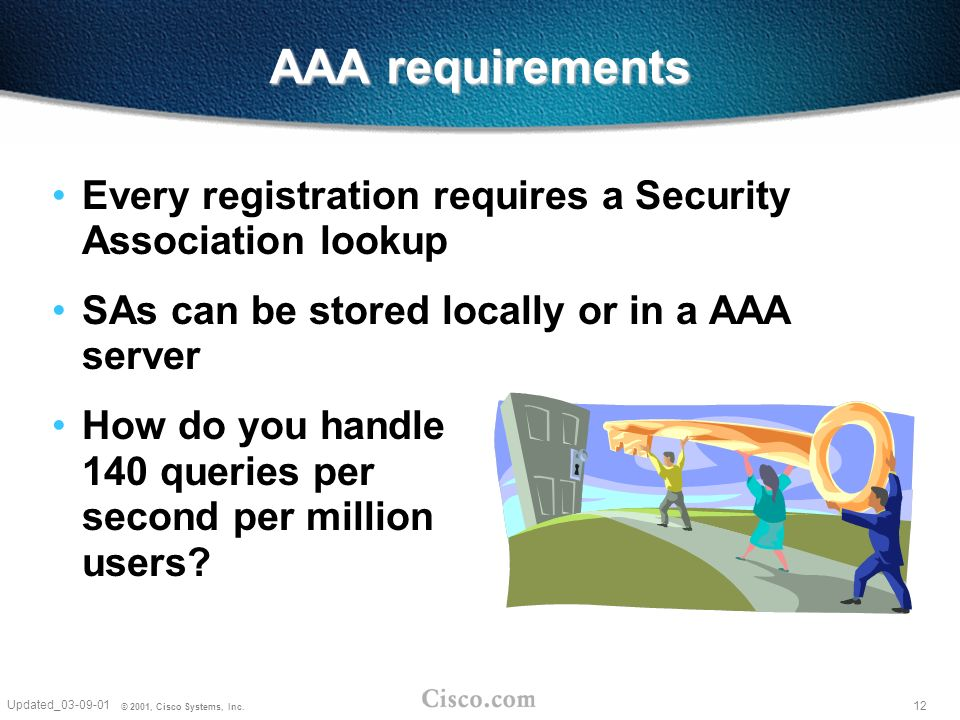 12 Updated_03-09-01 © 2001, Cisco Systems, Inc. AAA requirements Every registration requires a Security Association lookup SAs can be stored locally o