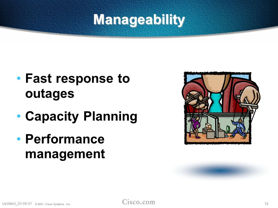 18 Updated_03-09-01 © 2001, Cisco Systems, Inc. Manageability Fast response to outages Capacity Planning Performance management