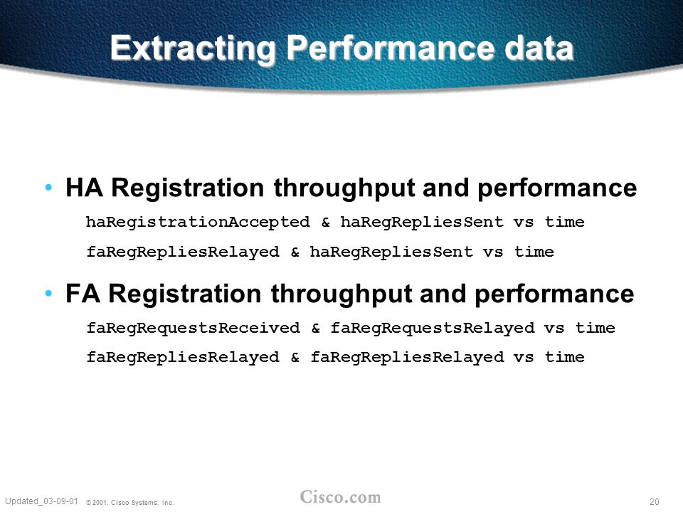 20 Updated_03-09-01 © 2001, Cisco Systems, Inc. Extracting Performance data HA Registration throughput and performance haRegistrationAccepted & haRegR