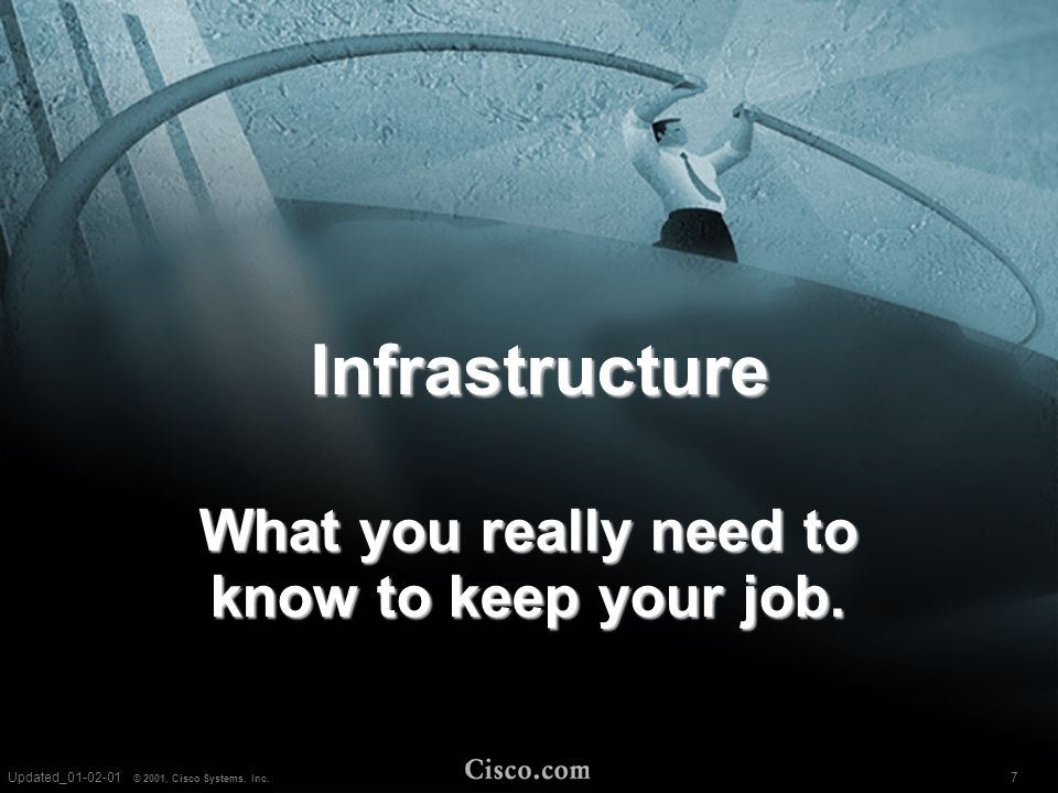 7 © 2001, Cisco Systems, Inc. Updated_03-09-01 Infrastructure What you really need to know to keep your job. 7Updated_01-02-01 © 2001, Cisco Systems,