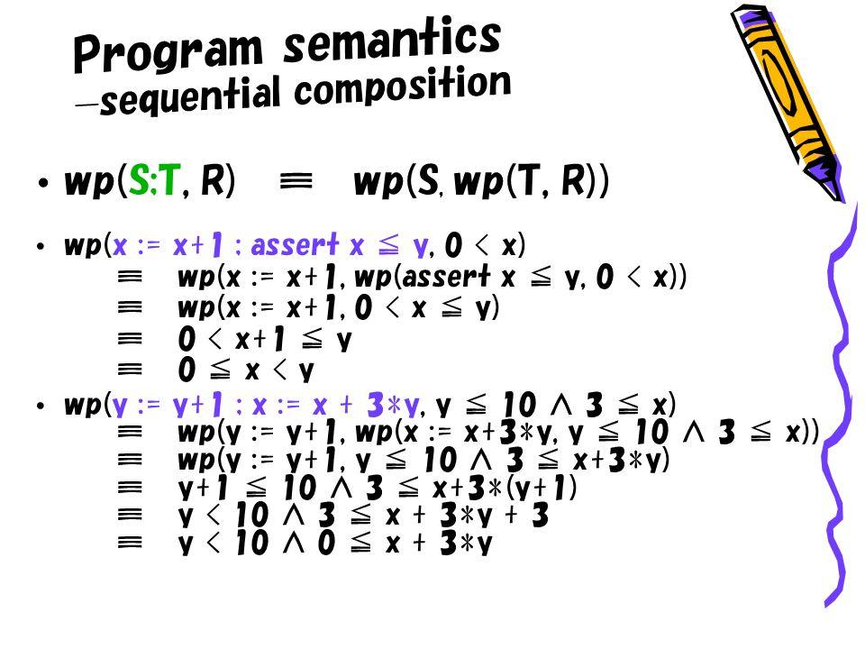 wp(S;T, R) wp(S, wp(T, R)) wp(x := x+1 ; assert x y, 0 < x)wp(x := x+1, wp(assert x y, 0 < x))wp(x := x+1, 0 < x y) 0 < x+1 y0 x < y wp(y := y+1 ; x := x + 3*y, y 10 3 x)wp(y := y+1, wp(x := x+3*y, y 10 3 x))wp(y := y+1, y 10 3 x+3*y)y+1 10 3 x+3*(y+1)y < 10 3 x + 3*y + 3y < 10 0 x + 3*y Program semantics sequential composition