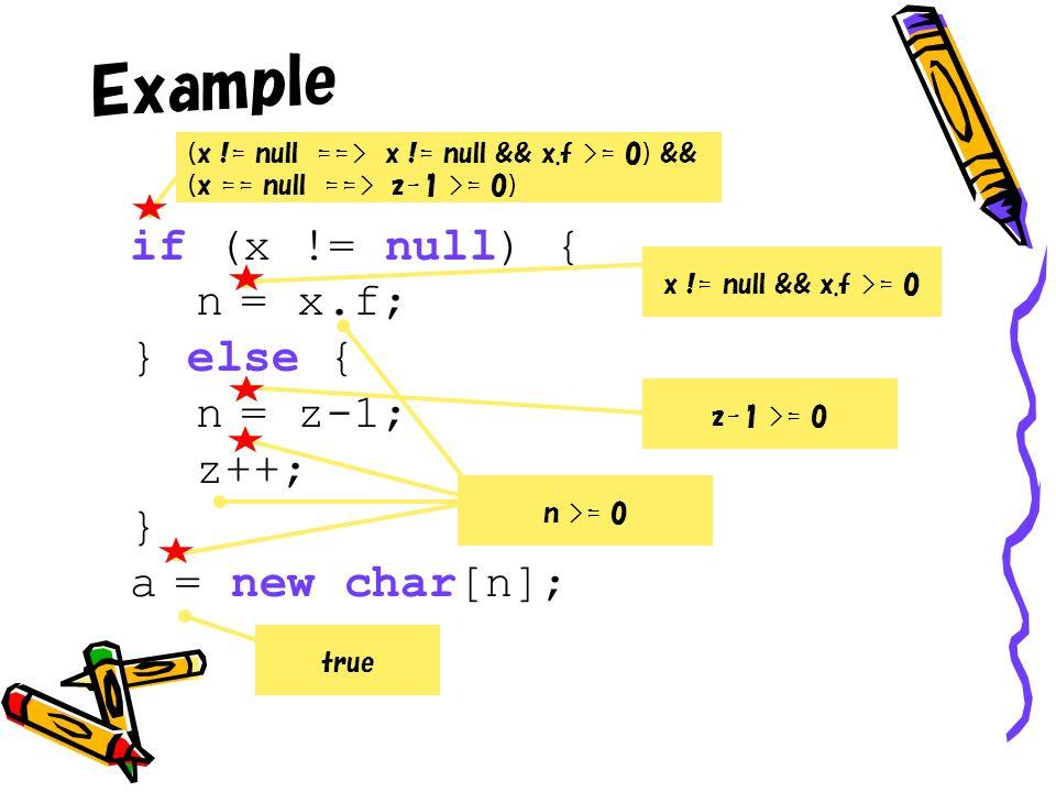Example if (x != null) { n = x.f; } else { n = z-1; z++; } a = new char[n]; true n >= 0 z-1 >= 0 x != null && x.f >= 0 (x != null ==> x != null && x.f