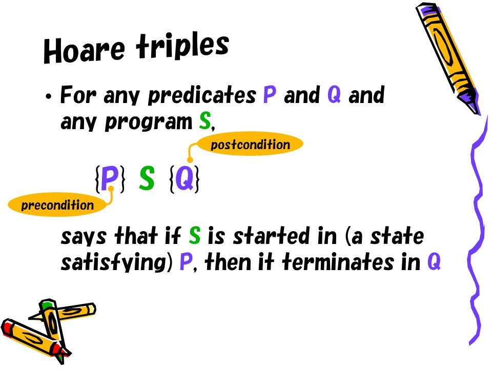 Hoare triples For any predicates P and Q and any program S, {P} S {Q} says that if S is started in (a state satisfying) P, then it terminates in Q pos