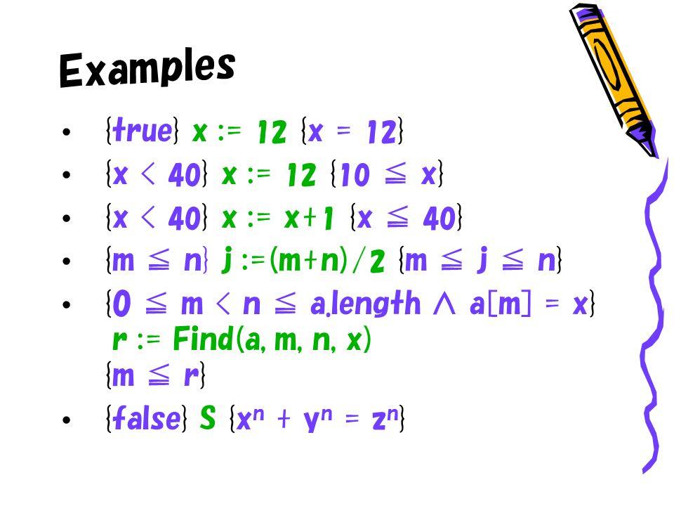 Examples {true} x := 12 {x = 12 } {x < 40 } x := 12 { 10 x} {x < 40 } x := x+ 1 {x 40 } {m n} j :=(m+n)/ 2 {m j n} {0 m < n a.length a[m] = x} r := Find(a, m, n, x) {m r} {false} S {x n + y n = z n }