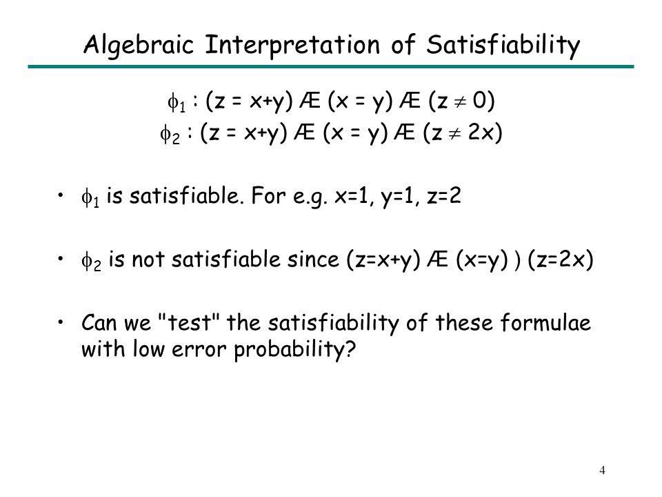 5 Geometric Interpretation of Satisfiability IDEA: If we choose points randomly on L, we can easily tell that L ) R 1 and L ) R 2 1 : (z = x+y) Æ (x = y) Æ (z 0) 2 : (z = x+y) Æ (x = y) Æ (z 2x) L L R 2 : z = 2x R 1 : z = 0 P Line L: solution space for (z = x+y) Æ (x = y)