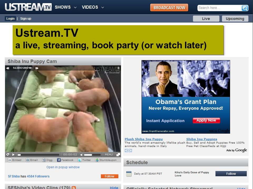 Ustream.TV a live, streaming, book party (or watch later)