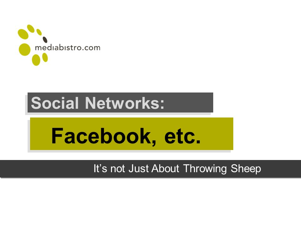 Facebook, etc. Social Networks: Its not Just About Throwing Sheep