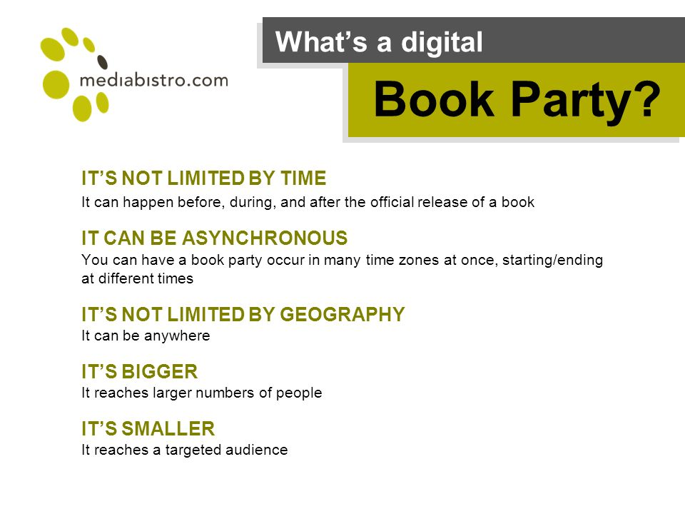 Whats a digital Book Party.