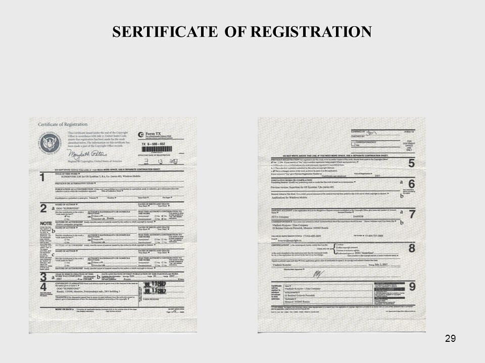 29 SERTIFICATE OF REGISTRATION
