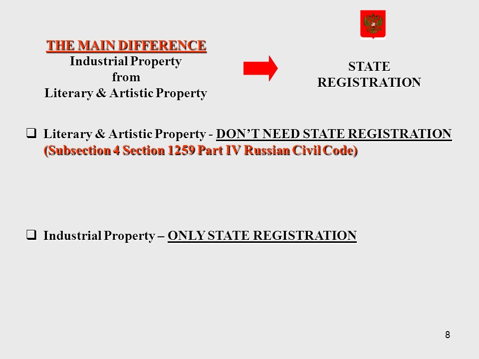 8 THE MAIN DIFFERENCE Industrial Property from Literary & Artistic Property STATEREGISTRATION Literary & Artistic Property - DONT NEED STATE REGISTRATION (Subsection 4 Section 1259 Part IV Russian Civil Code) Literary & Artistic Property - DONT NEED STATE REGISTRATION (Subsection 4 Section 1259 Part IV Russian Civil Code) Industrial Property – ONLY STATE REGISTRATION Industrial Property – ONLY STATE REGISTRATION