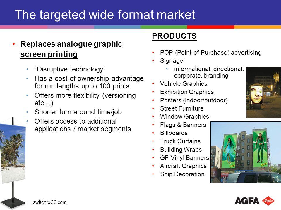 www.switchtoC3.com Value total digital printing market amounts to 110 B Inkjet >50 B Desktop narrow format 42 B Industrial Wide Format 8 B Single Pass