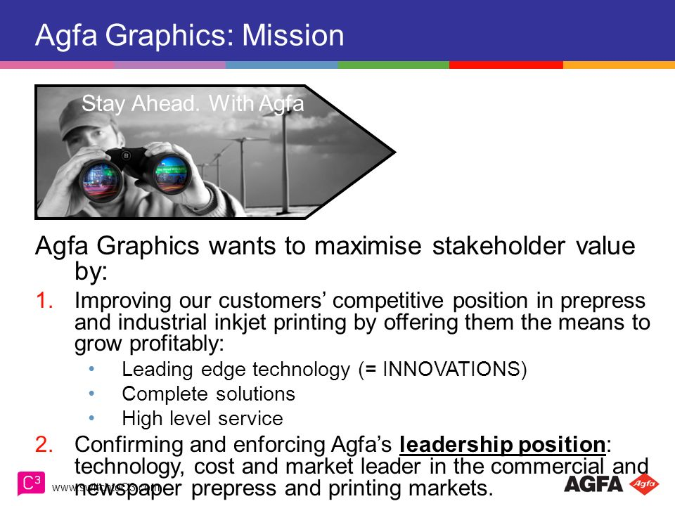 www.switchtoC3.com Agfa Graphics: Vision Agfa Graphics believes in the future of the printed medium as a powerful communication tool for: Information