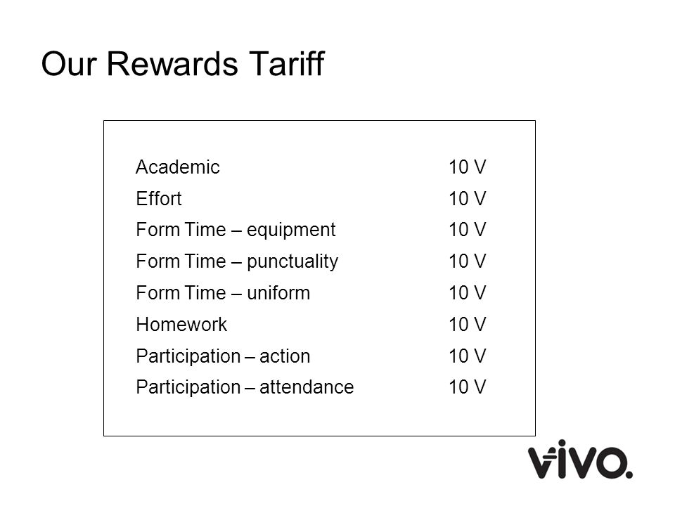Our Rewards Tariff Academic10 V Effort10 V Form Time – equipment10 V Form Time – punctuality10 V Form Time – uniform10 V Homework10 V Participation –