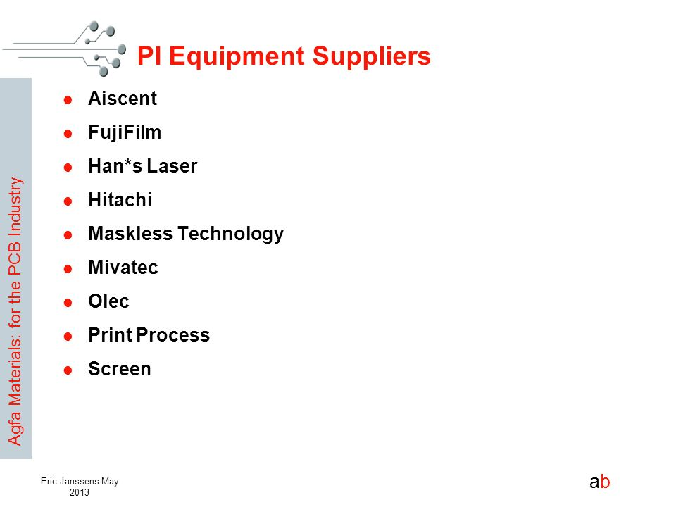 Agfa Materials: for the PCB Industry abab Eric Janssens May 2013 PI Equipment Suppliers Aiscent FujiFilm Han*s Laser Hitachi Maskless Technology Mivat