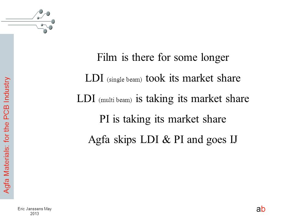 Agfa Materials: for the PCB Industry abab Eric Janssens May 2013 Film is there for some longer LDI (single beam) took its market share LDI (multi beam