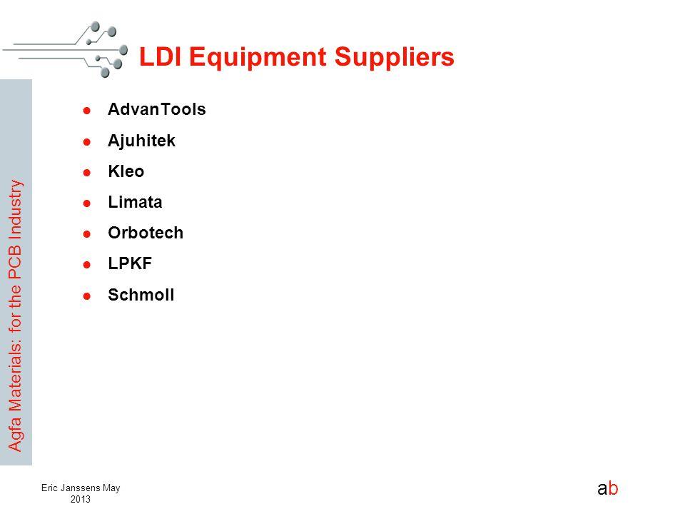 Agfa Materials: for the PCB Industry abab Eric Janssens May 2013 LDI Equipment Suppliers AdvanTools Ajuhitek Kleo Limata Orbotech LPKF Schmoll