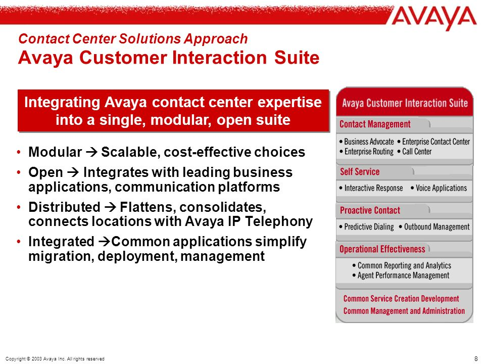 8 Copyright © 2003 Avaya Inc.